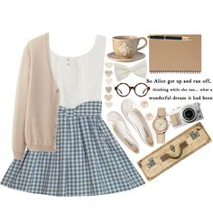 blue and white gingham skirt, white sleeveless blouse, neutral cardigan, accessories