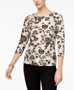 Jm Collection Petite Printed Three-Quarter Sleeve Top, Created for Macy's - Black P/XL