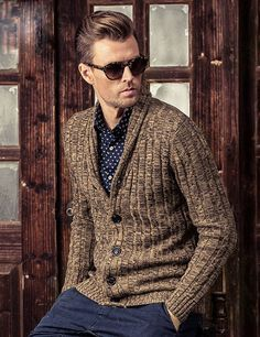Men's Cardigan with Twisting Knitting Small Lapel Collar #coolsmen #fashion #cardigan #sweaters