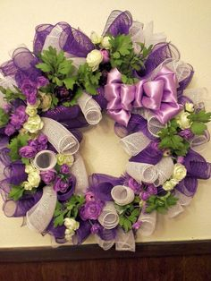 purple and white flowers, deco mesh, spring, summer wreath on Etsy, $30.00