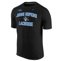 """Nike Hopkins """"Big Ten"""" Lacrosse Shielded Blue Jay Performance Tee"""