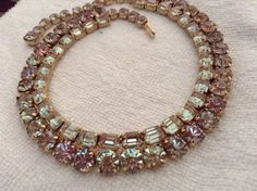 WOW-Beautiful-Vintage-Faceted-Saphiret-Kramer-Necklace-16-034-Long-And-1-2-034-Wide