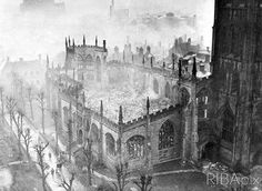 in ruins after air raid of 14 November 1940 from the held in the wonderful Coventry Cathedral, Air Raid, Middle Ages, Britain, Medieval, 14 November, Cathedral Church, Explore, History