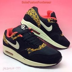 Nike-Womens-Air-Max-1-Leopard-Trainers-Black-Red-size-4-5-Safari-LTD-EU-38-US-7