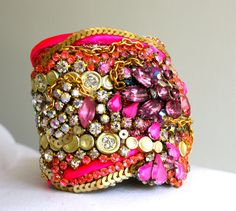 One of a kind Neon Gold and Crystal Cuff with Silk and Sequin by Doloris Petunia