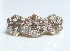 Geelgoud ring met diamanten – in totaal 1,68 ct.