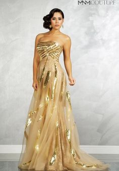White and Gold Wedding. Gold Bridesmaid Dress. Soft and Romantic. MNM Couture 6739 Dress at Peaches Boutique
