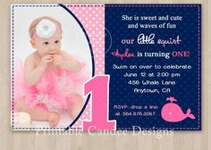 birthday navy and pink whale theme | Pink and Navy Whale Birthday Invitation DIY by printablecandee, $10.00
