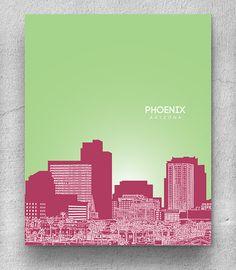 Phoenix Arizona Skyline / Art for Lofts and by YouandYoursPrints, $22.00