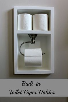 DIY toilet paper holder ideas are simple but interesting. Try one of these inspirations to spice up your bathroom or toilet. Diy Toilet Paper Holder, Recessed Toilet Paper Holder, Toilet Paper Storage, Bad Inspiration, Bathroom Inspiration, Downstairs Toilet, Small Bathroom, Small Toilet Room, Home Projects