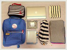 投稿《What's in your Kånken bag ?! 》徵件活動-by Aki Ra 款式:Kånken classic 冰藍  說明:我愛條紋