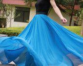 sea blue Maxi skirt, custom made skirt, high waist maxi skirt, chiffon maxi skirt dress, double layered chiffon skirt
