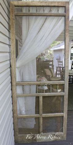 repurposed screen door project for the porch, outdoor living, porches Vintage Screen Doors, Wooden Screen Door, Diy Screen Door, Sliding Screen Doors, Screen Door Pantry, Old Window Screens, Old Windows, Windows And Doors, Diy Room Divider