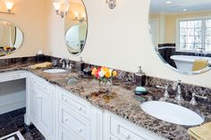 Master bathroom vanity in Emperador Dark marble with Eased edges. Bathroom Vanity Storage, Master Bathroom Vanity, Bathroom Vanity Cabinets, Boston, Marble Tiles, Carrara Marble, Contemporary Light Fixtures, Build A Closet, Bathroom Photos