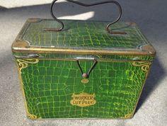 scarce old Worker Cut Plug green alligator bag lunch box tobacco tin