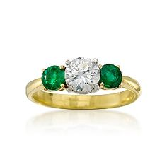 C. 2006. Vintage Tiffany Jewelry Certified .79 Carat Diamond and .40 ct. t.w. Emerald Ring in Two-Tone. Size 6