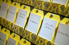 """A closer view of the """"vintage old Hollywood"""" escort cards from Colette Lopez. Photo by Melissa Musgrove."""