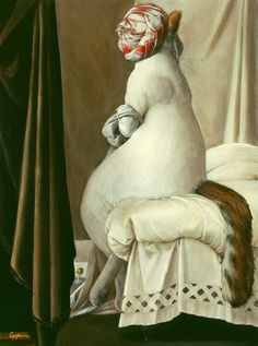 "Melinda Copper  ~  ""Cat Bath""  (original painting, The Bather of Valpincon by Ingres)"