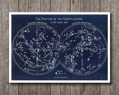 Position of the Constelations 14700 years ago Stars Hemispheres Chart Antique Restored Map Graph Printable Print Poster great for wall decor