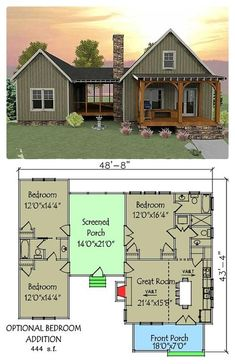 """""""This house plan has a unique layout with a spacious screened porch separating the optional 2-bedroom section from the main part of the house.""""-SR"""
