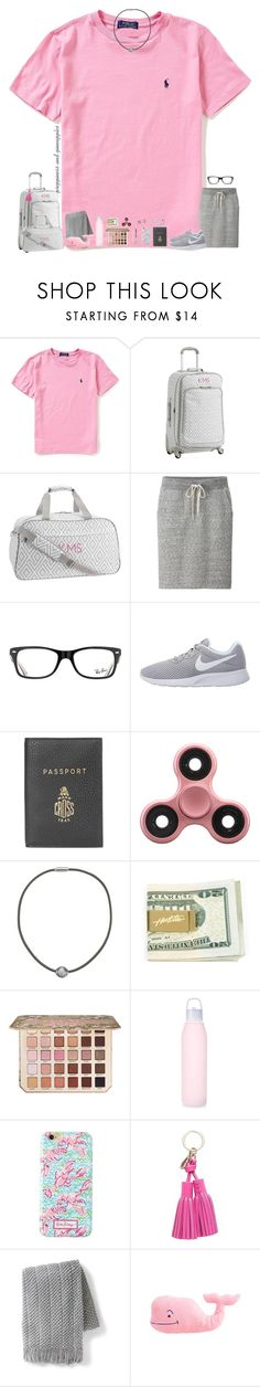 """✧ day 1"" by preppiness-and-pineapples ❤ liked on Polyvore featuring Ralph Lauren, PBteen, Uniqlo, Ray-Ban, NIKE, Mark Cross, Majorica, Too Faced Cosmetics, Lilly Pulitzer and Kate Spade"