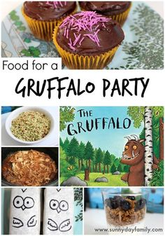 Gruffalo Party Food Ideas Your Kids Will Love A Gruffalo Birthday Party Menu! Fabulous ideas for kid friendly food based on The Gruffalo.<br> Easy Gruffalo party food ideas your kids will love! Gruffalo Party, The Gruffalo, Gruffalo Activities, Book Activities, Birthday Party Menu, Birthday Ideas, Third Birthday, Party Food And Drinks, Fancy Cakes
