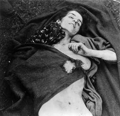 Bergen Belsen, Germany, A corpse of a female inmate, April 1945.