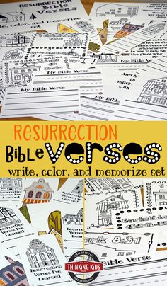 Resurrection Bible Verses Write, Color, and Memorize Set Teach your kids about Easter with 8 Bible verses about the resurrection! They'll love this fun Write, Color, and Memorize copywork set. Bible Crafts For Kids, Bible Lessons For Kids, Resurrection Bible Verse, Easter Bible Verses, Verses For Cards, Memory Verse, Cool Writing, Christian Parenting, Teaching Kids