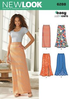Simplicity New Look Easy Just 4 Knits Pattern 6288 Misses Pull on Knit Skirts, Sizes Misses' pull on maxi skirts are comfortable and perfect for any occasion Easy skirts can be slim, full, full with slit and draped with ruffle hem New Look sewing pattern. Dress Making Patterns, Skirt Patterns Sewing, Vintage Sewing Patterns, Clothing Patterns, Skirt Sewing, Pattern Sewing, Coat Patterns, Pattern Drafting, Blouse Patterns