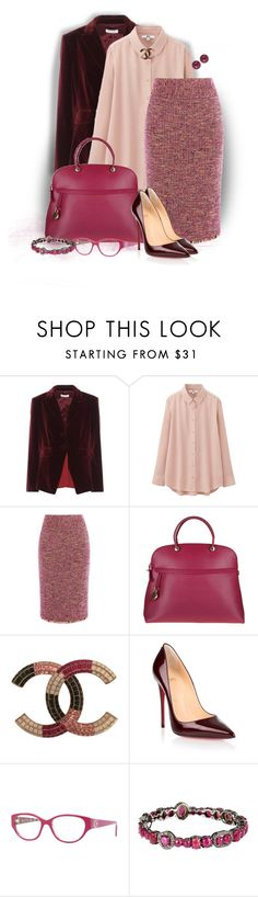 """Tweed Skirt"" by loveroses123 ❤ liked on Polyvore featuring Altuzarra, Uniqlo, Karen Millen, Furla, Chanel, Christian Louboutin, Versace, Bavna and Color My Life"