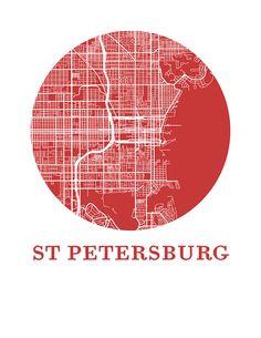 St Petersburg Florida Map Print City Map Poster by OMaps on Etsy Vintage Maps, Antique Maps, City Map Poster, St Petersburg Florida, Line Illustration, City Maps, Design Quotes, Plans, Poster Prints