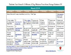 Free printable March 2014 decluttering calendar, with daily 15 minute missions {on Home Storage Solutions 101}