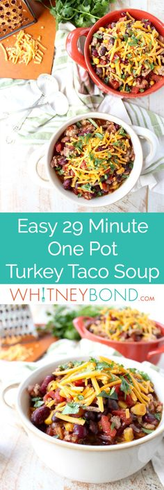 Ground turkey and three kinds of beans are added to one pot to make this protein packed, easy and healthy turkey taco soup recipe, made in only 29 minutes!