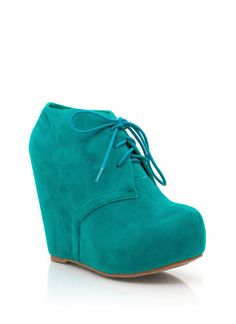 lace-up bootie wedge, fake suede, $28.50 comes in 8 different colors, 4.5 inch heel. love these.