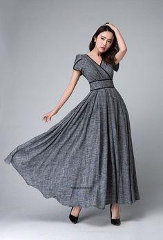Gray maxi dress empire waist d