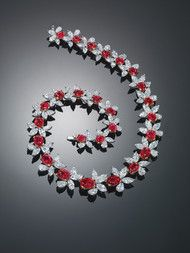 "Burmese 'Pigeon Blood"" Ruby and Diamond Necklace"