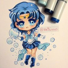 Chibi fanart of Sailor Mercury in her super transformation. Who is your favourite Sailor senshi? Anime Chibi, Kawaii Anime, Kawaii Chibi, Cute Chibi, Kawaii Art, Manga Drawing, Manga Art, Anime Art, Sailor Moon Fan Art