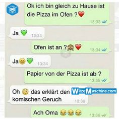 Lustige WhatsApp Bilder und Chat Fails 207 – Mit der Oma Pizza backen – witzemas… Funny WhatsApp Pictures and Chat Fails 207 – Baking Pizza with the Granny – Joke Machine – Text Messages Crush, Funny Text Messages Fails, Text Message Fails, Text Jokes, Text Fails, Funny Fails, Whatsapp Pictures, Awkward Texts, Funny Texts From Parents