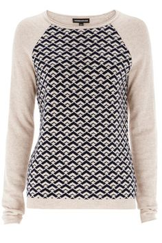 Warehouse The Winners Are | NEUTRAL STRIPE GEO FRONT JUMPER | Fashion Clothing | Warehouse Fashions