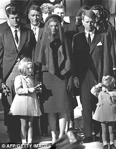 Members of the Kennedy family at the funeral of assassinated president John F. Kennedy at Washington DC. From left: Senator Edward Kennedy, Caroline Kennedy, (aged Jackie Kennedy - Attorney General Robert Kennedy and John Kennedy - (aged