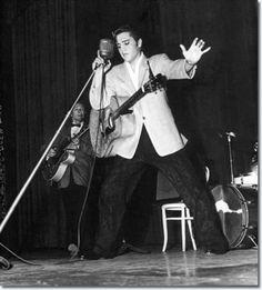 June 1956 Elvis performing at the Municipal Auditorium, Long Beach, California. Long Beach, Elvis Memorabilia, Sun Records, Elvis In Concert, Best Guitar Players, Elvis Presley Photos, Memphis Tennessee, Lisa Marie Presley, Auditorium