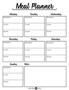 Free Printable Menu Planner Sheet - Southern Plate With Blank Meal Plan Template. - Free Printable Menu Planner Sheet – Southern Plate With Blank Meal Plan Template – Template - Template Menu, Weekly Meal Plan Template, Meal Planner Template, Schedule Templates, The Plan, How To Plan, Planner Pdf, Free Meal Planner, Weekly Food Planner