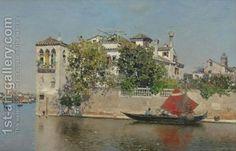 Martin Rico y Ortega:A View Of A Venetian Garden