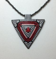 Black White and Red Flower Triangle Choker by DoubleACreations, $25.00