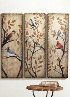 Add the aura of an heirloom to your décor with our Kenai Bird Triptych. Our set of three painted panels celebrates the birds of North America. Pallet Painting, Pallet Art, Tole Painting, Painting On Wood, Pintura Tole, Bird Art, Wood Crafts, Art Projects, North America