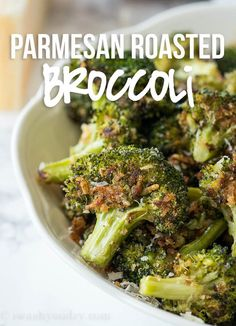 Parmesan Roasted Broccoli is a quick and easy side dish vegetable that is constantly requested in our house. Parmesan Roasted Broccoli has quickly become one of my new favorite ways to eat broccoli. Vegetable Side Dishes, Vegetable Recipes, Parmesan Roasted Cauliflower, Roasted Potatoes, Cauliflower Recipes, Chicharrones, Cooking Recipes, Healthy Recipes, Vegetarian Recipes