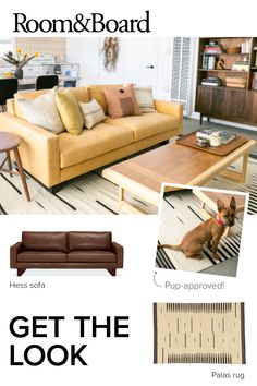 Natalie Myers of Veneer Designs created the desert retreat of her (and our) dreams. Shop now to get this look in your own home! Room And Board Furniture, Home Furniture, Furniture Styles, Tokyo Apartment, Apartment Interior, Bedroom Apartment, Clean Car Seats, Best Leather Sofa, Living Spaces