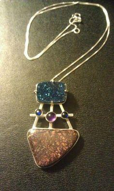 Blue druzy, boulder opal, sapphires & amethyst pendant made by Julie Reitenbach of AnJules
