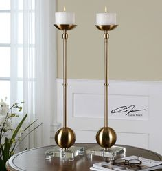 """LARGE 27"""" TWO BRASS PLATED METAL PILLAR CANDLEHOLDERS CRYSTAL FOOT WHITE CANDLES"""