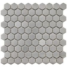 """Metallic 1"""" x 1"""" Polished Stainless Steel Over Ceramic Hex Mosaic in Silver"""